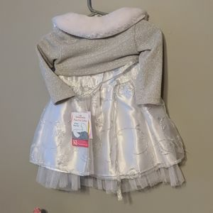 Silver and white dress with cardigan faux fur